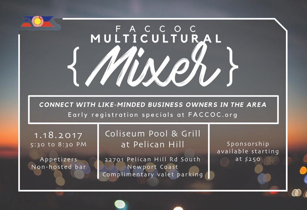 Join us at Pelican Hill for FACCOC's first mixer of 2017!