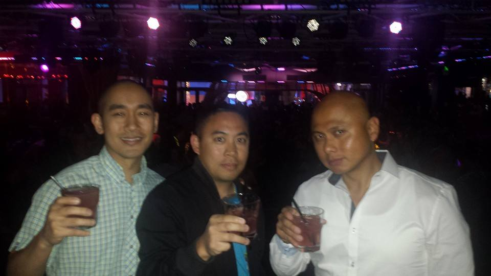 CHEERS! DJ Eman (middle) and cousins Dean and Neil Estrada (right) celebrate after the Pacquiao fight.