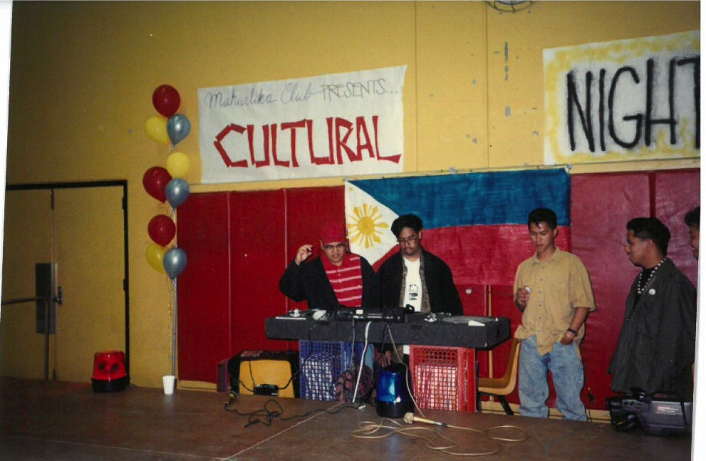 Mark (right) stops by Cerritos High's Maharlika Club in 1991.