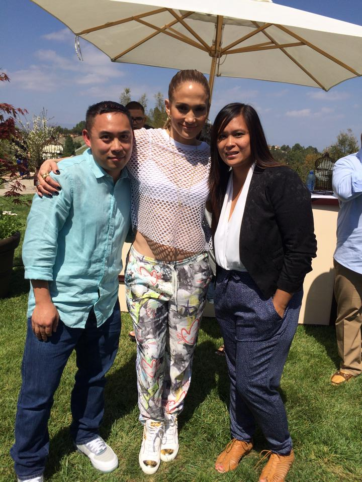 Eman and his wife Joidie with Jennifer Lopez (middle)